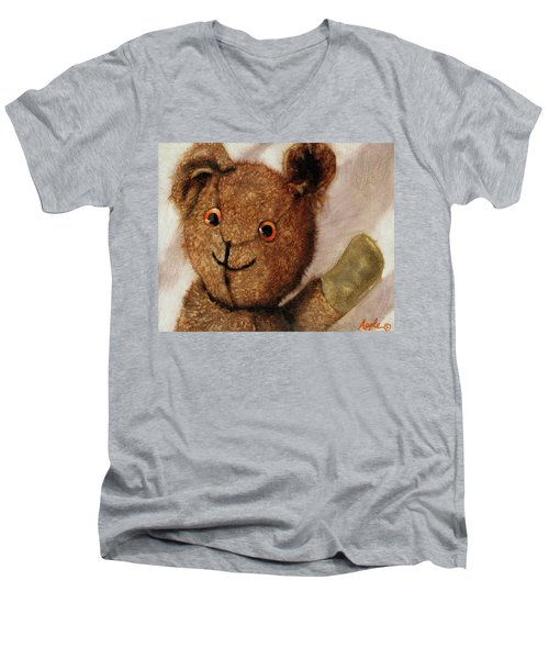 Tillie - Vintage Bear Painting Men's V-Neck T-Shirt by Linda Apple