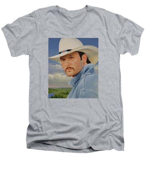 Tim Mcgraw Men's V-Neck T-Shirt by Cliff Spohn