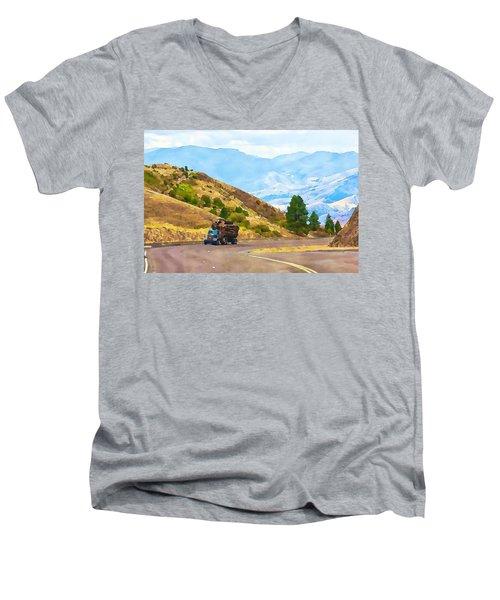 Timbers Truck In Idaho Men's V-Neck T-Shirt