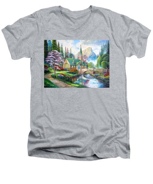 Men's V-Neck T-Shirt featuring the painting Time To Come Home by Karen Showell