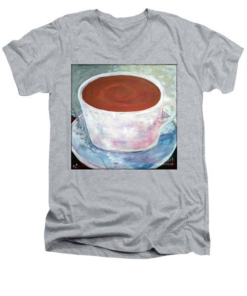 Men's V-Neck T-Shirt featuring the painting Time To Relax by Reina Resto