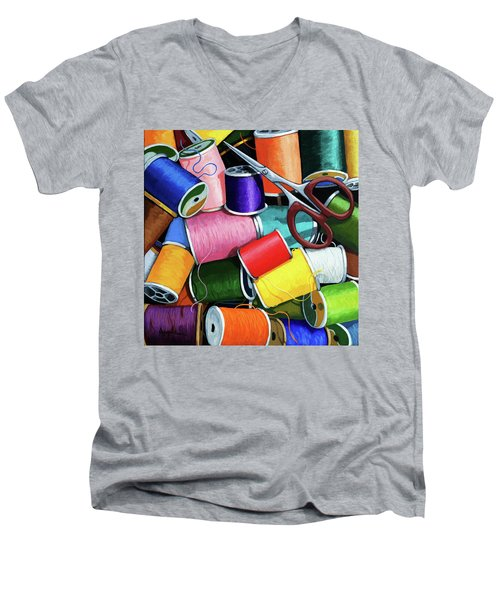 Time To Sew - Colorful Threads Men's V-Neck T-Shirt by Linda Apple
