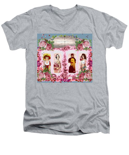 Men's V-Neck T-Shirt featuring the digital art Time Window by Digital Art Cafe