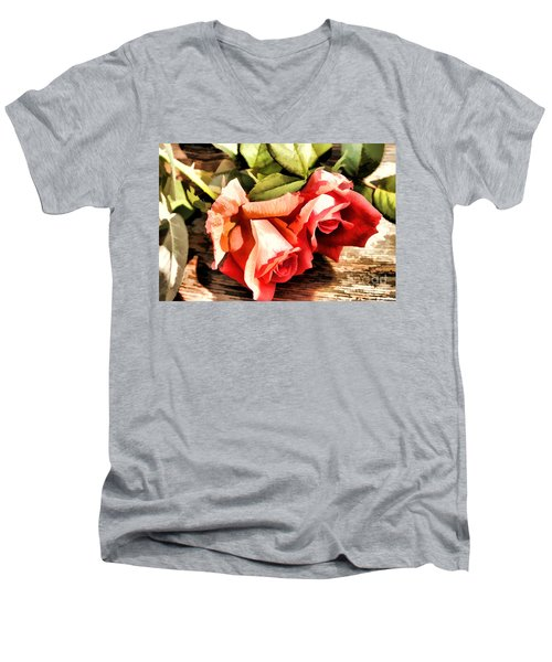 Timeless Tropicana Roses Men's V-Neck T-Shirt