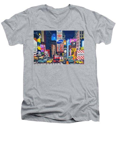 Times Square Men's V-Neck T-Shirt by Autumn Leaves Art