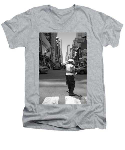Times Square, New York City  -27854-bw Men's V-Neck T-Shirt by John Bald