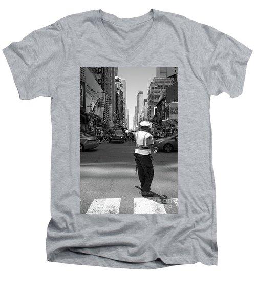 Times Square, New York City  -27854-bw Men's V-Neck T-Shirt