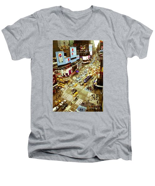 Times Square Traffic Men's V-Neck T-Shirt by Perry Van Munster