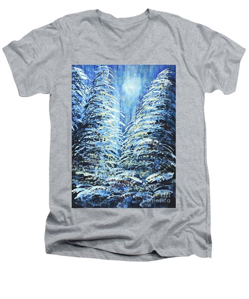 Men's V-Neck T-Shirt featuring the painting Tim's Winter Forest by Holly Carmichael