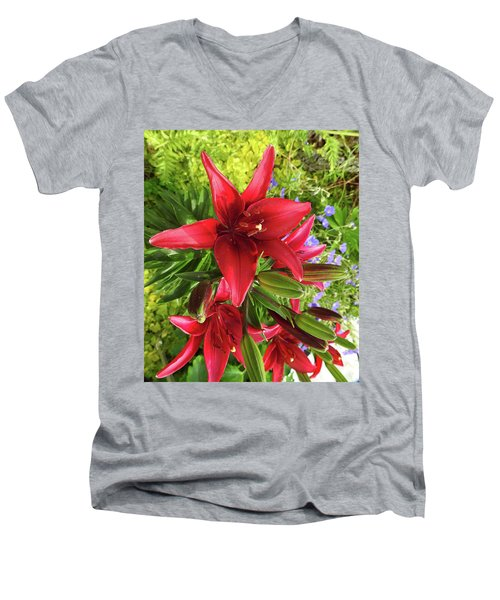 Tiny Ghost Asiatic Lilly Men's V-Neck T-Shirt
