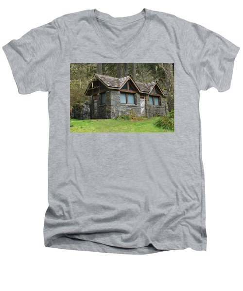 Tiny House In The Woods Men's V-Neck T-Shirt by Angi Parks