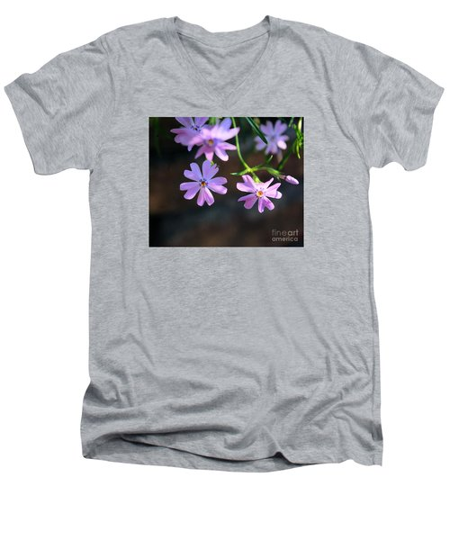 Tiny Pink Flowers Men's V-Neck T-Shirt by John S