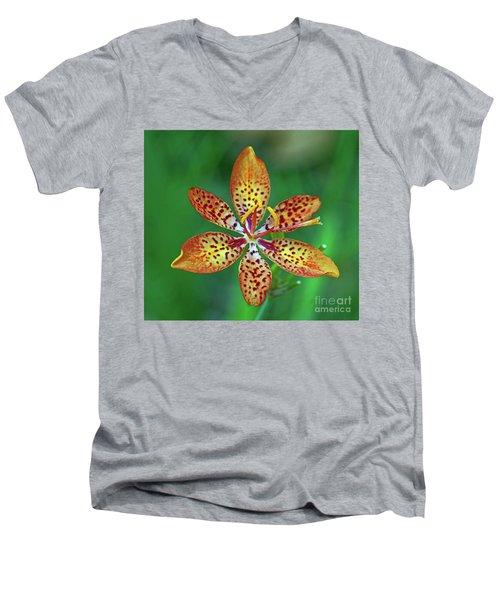 Tiny Tropical Lily Men's V-Neck T-Shirt