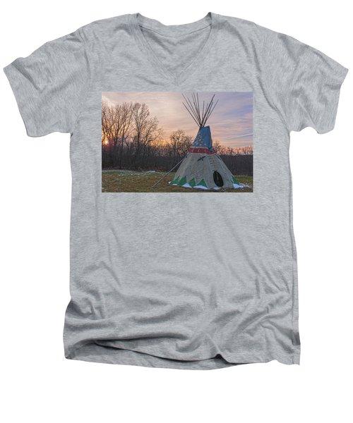 Tipi Sunset Men's V-Neck T-Shirt by Angelo Marcialis