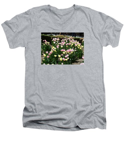 Tiptoe Through The Tulips Men's V-Neck T-Shirt by Helen Haw