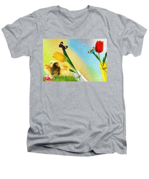 Tiptoe Through The Tulips Men's V-Neck T-Shirt by Liane Wright