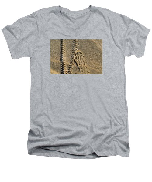 Tire And Sneaker Tracks Men's V-Neck T-Shirt by Lyle Crump