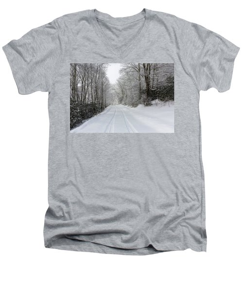 Tire Tracks In Fresh Snow Men's V-Neck T-Shirt