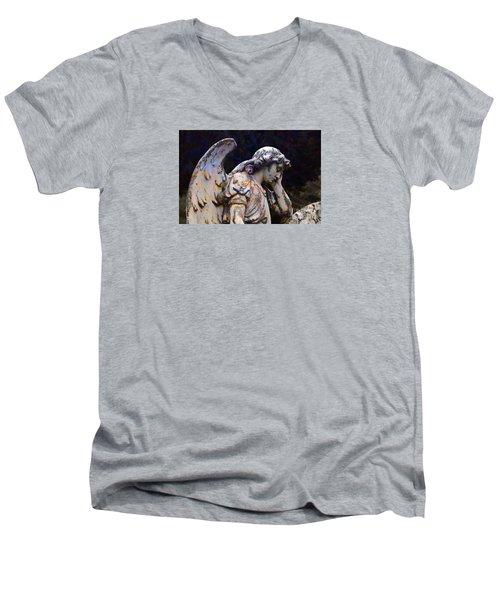 Tired Angel Men's V-Neck T-Shirt by Nareeta Martin