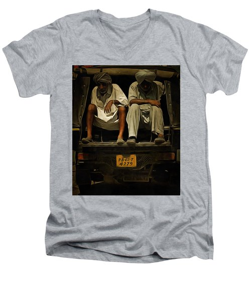 Men's V-Neck T-Shirt featuring the digital art Tired Life  by Bliss Of Art