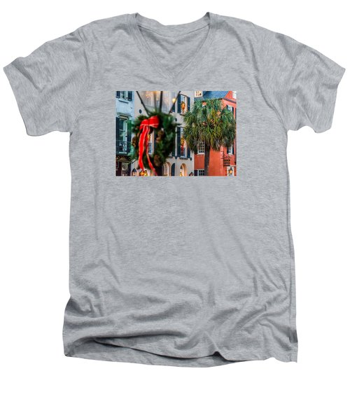 Men's V-Neck T-Shirt featuring the photograph Tis The Season - Charleston Sc by Donnie Whitaker