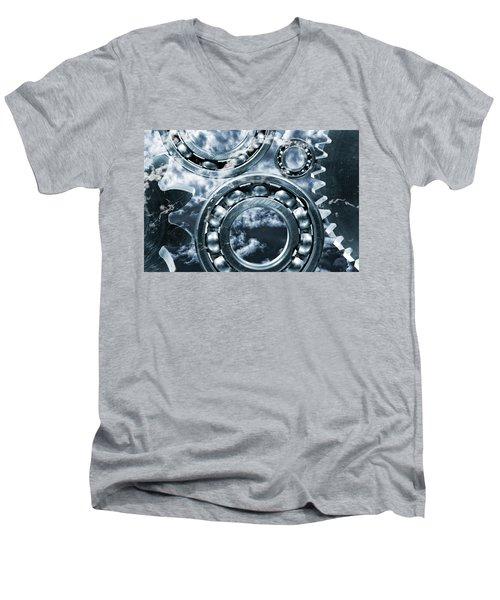 Titanium Gears Against Storm Clouds Men's V-Neck T-Shirt