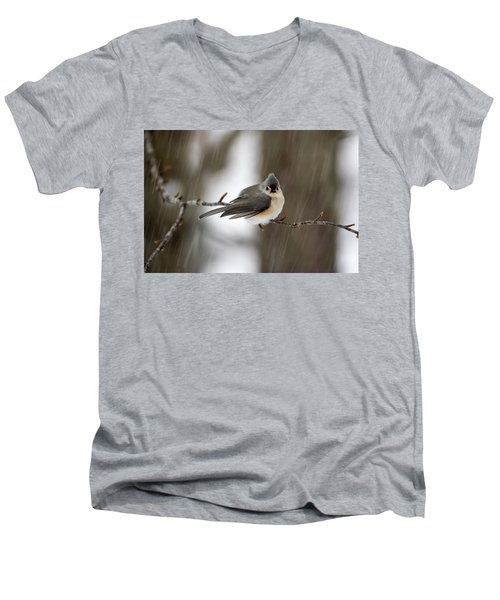 Titmouse During Snow Storm Men's V-Neck T-Shirt by Betty Pauwels