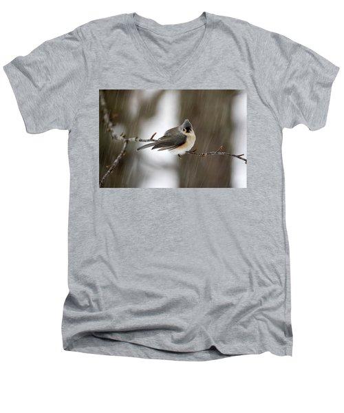 Titmouse During Snow Storm Men's V-Neck T-Shirt