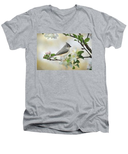 Men's V-Neck T-Shirt featuring the mixed media Titmouse In Blossoms 1 by Lori Deiter