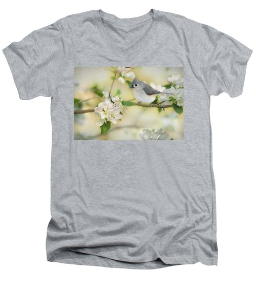 Men's V-Neck T-Shirt featuring the mixed media Titmouse In Blossoms 2 by Lori Deiter