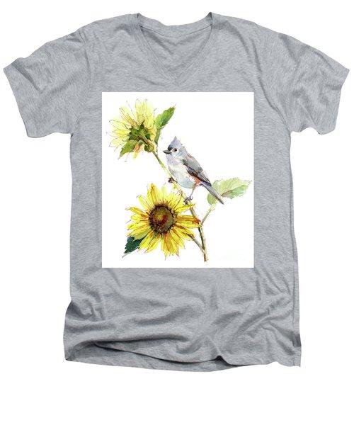 Titmouse With Sunflower Men's V-Neck T-Shirt