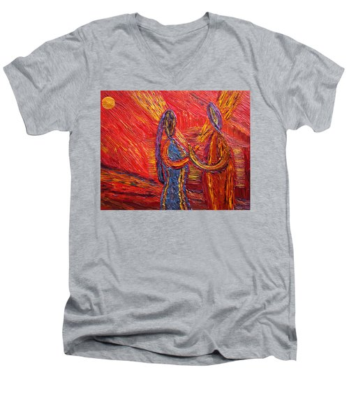 Men's V-Neck T-Shirt featuring the painting To Be My Second Self... by Vadim Levin