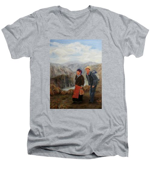 Men's V-Neck T-Shirt featuring the painting To Market by Roseann Gilmore