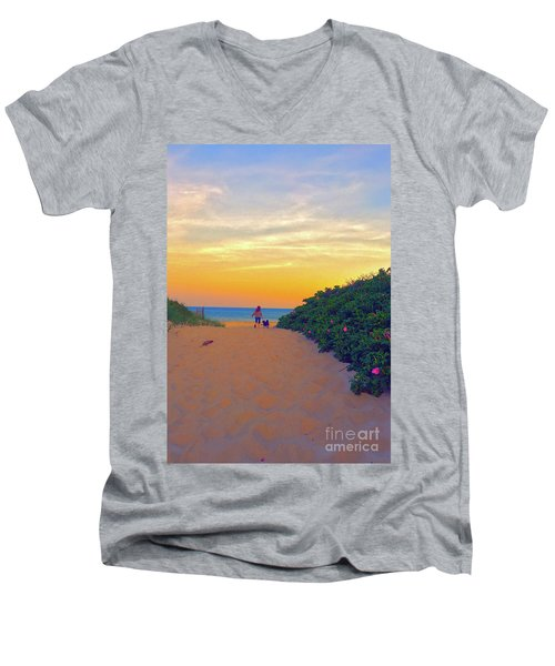 To The Beach Men's V-Neck T-Shirt by Todd Breitling