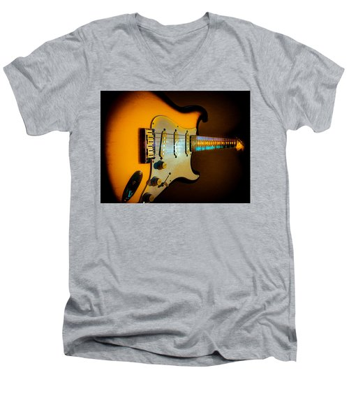Tobacco Burst Stratocaster Glow Neck Series Men's V-Neck T-Shirt