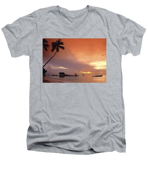 Men's V-Neck T-Shirt featuring the photograph Tobago, Pigeon Point Sunset, Caribbean Sea, by Juergen Held