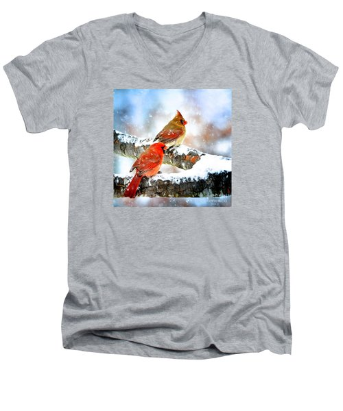 Together In The Snow Men's V-Neck T-Shirt by Nava Thompson