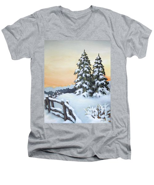 Men's V-Neck T-Shirt featuring the painting Together by Inese Poga