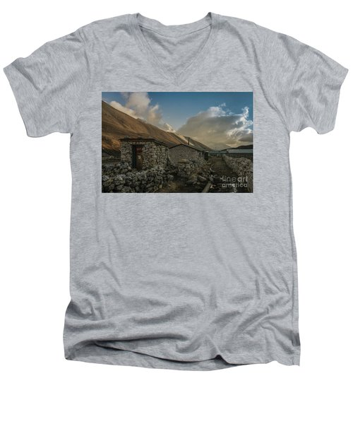Men's V-Neck T-Shirt featuring the photograph Toilet by Mike Reid