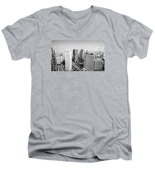 Men's V-Neck T-Shirt featuring the photograph Tokyo Skyline by Pravine Chester