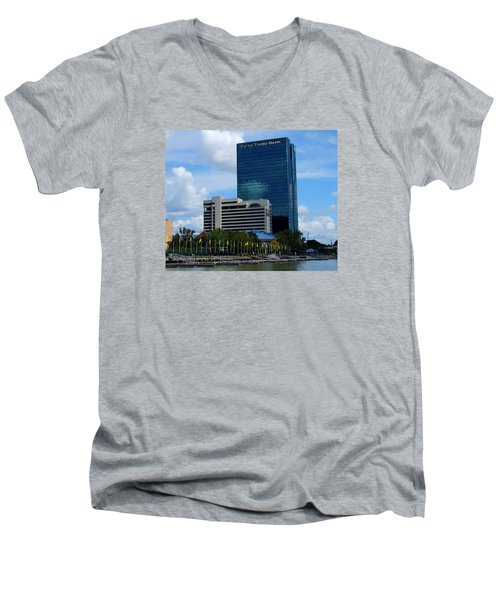 Men's V-Neck T-Shirt featuring the photograph Toledo's Waterfront I by Michiale Schneider