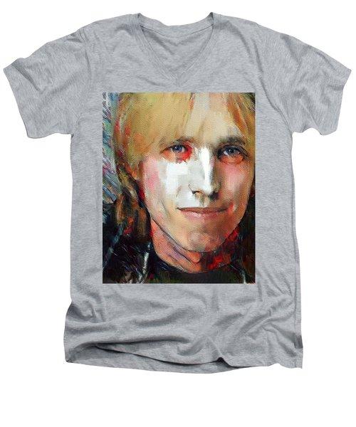 Tom Petty Tribute Portrait 3 Men's V-Neck T-Shirt