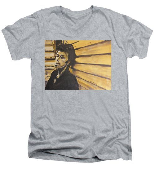 Men's V-Neck T-Shirt featuring the painting Tom Waits by Eric Dee