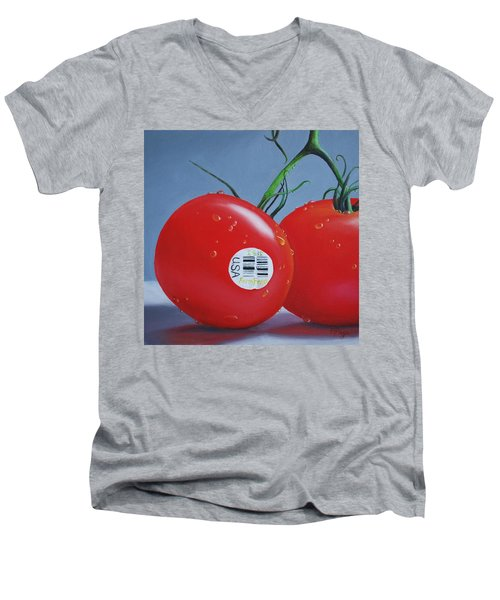 Tomatoes With Sticker Men's V-Neck T-Shirt