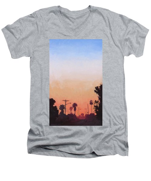 Men's V-Neck T-Shirt featuring the painting Tonal Hollywood by Andrew Danielsen