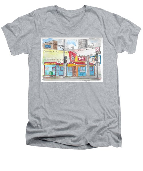 Tony Burger, Downtown Los Angeles, California Men's V-Neck T-Shirt