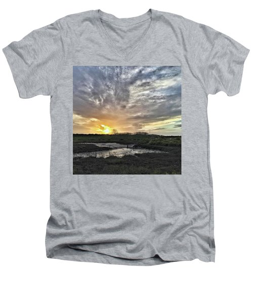 Tonight's Sunset From Thornham Men's V-Neck T-Shirt by John Edwards