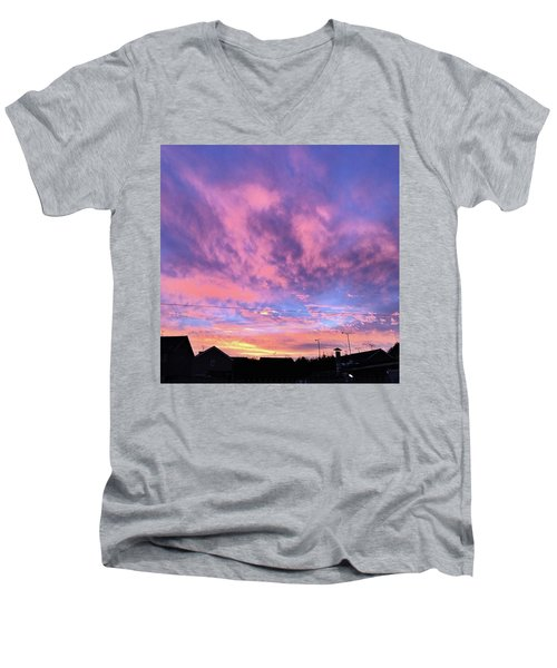 Tonight's Sunset Over Tesco :) #view Men's V-Neck T-Shirt by John Edwards