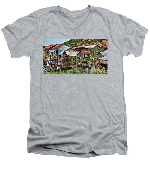 Tonle Sap Boat Village Cambodia Men's V-Neck T-Shirt by Chuck Kuhn