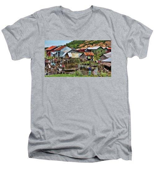 Tonle Sap Boat Village Cambodia Men's V-Neck T-Shirt